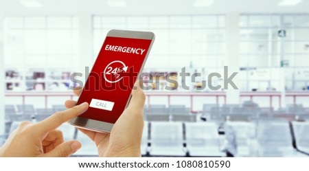 Emergency call use by smartphone. Concept car accidents and emergency.