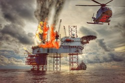 Emergency evacuation by helicopter, offshore oil and gas fire case or emergency case, firefighter operation to control fire on oil and gas platform, offshore worst case and can't control fire.