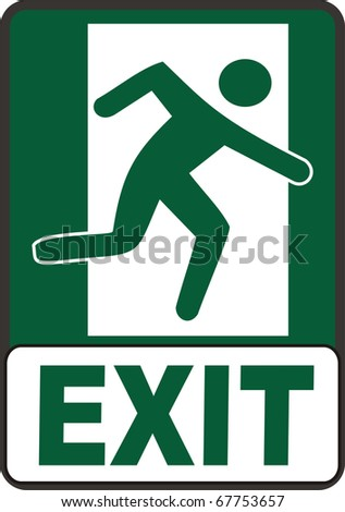 Emergency Exit Sign image dark green and white