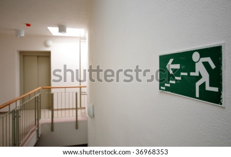 Emergency exit sign in newly built house