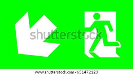 emergency exit sign on green background for standard emergency