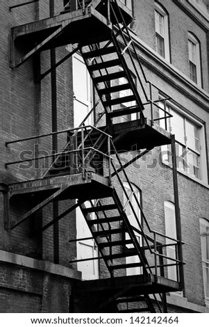 Emergency / fire escape staircase on one of the Old City buildings in Philadelphia, Pennsylvania.