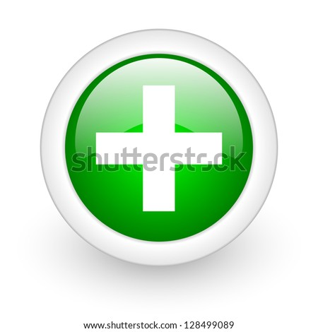 emergency green circle glossy web icon on white background