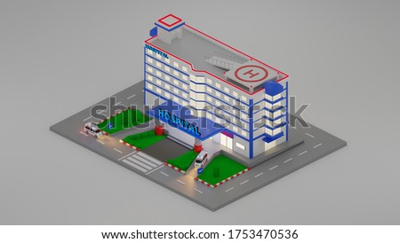Emergency Hospital Entrance in 3d isometric style. The building of the clinic with lobby for patients. 3D rendering Illustration
