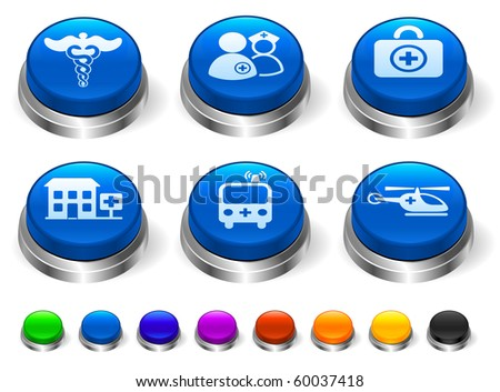 Emergency Icon on 3D Button with Metallic Rim Collection Original Illustration