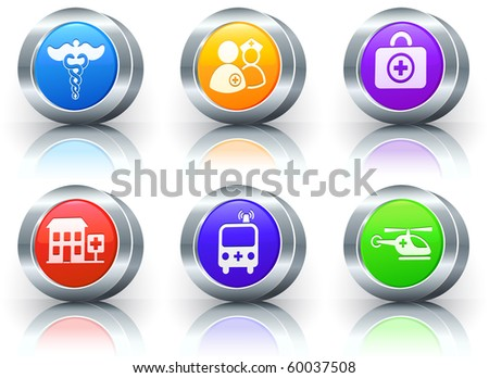Emergency Icons on Reflective Button with Metallic Rim Collection Original Illustration