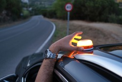 Emergency light for damaged vehicles (luminous beacon V16)  dgt, mandatory to replace by triangles.