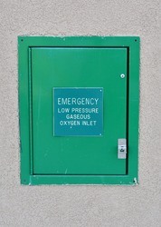 Emergency Low Pressure Gaseous Oxygen Inlet Sign