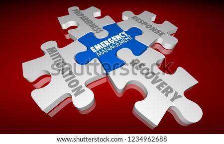 Emergency Management Puzzle Pieces Mitigation Response 3d Illustration
