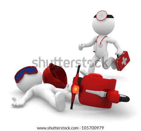 Emergency Medical Services. Paramedic running to a man lying down after scooter accident. Isolated