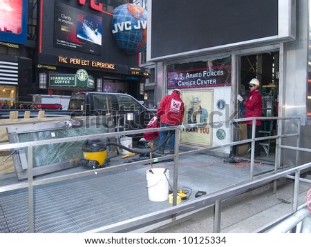 Emergency operations workers clean up evidence after the Times Square bombing on March 6th 2008.