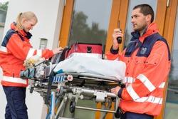 Emergency paramedics radio call ambulance house door visit doctor