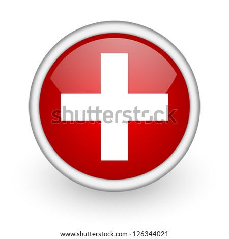 emergency red circle web icon on white background