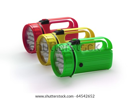 Emergency red yellow and green flashlight at row  on white background