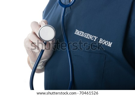 Emergency room doctor or nurse close up with stethoscope pointed at viewer