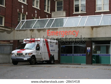 Emergency room entrance with ambulance