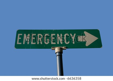 Emergency sign with arrow isolated on blue