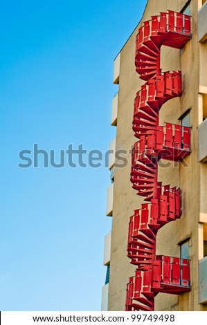 emergency stairs. fire escape outside building. urban architecture background