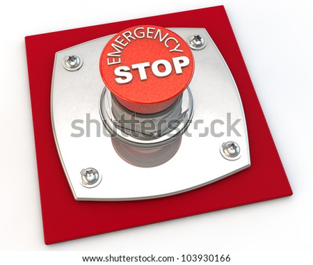 Emergency Stop button over white background