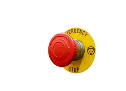 Emergency switch button, isolate on white background