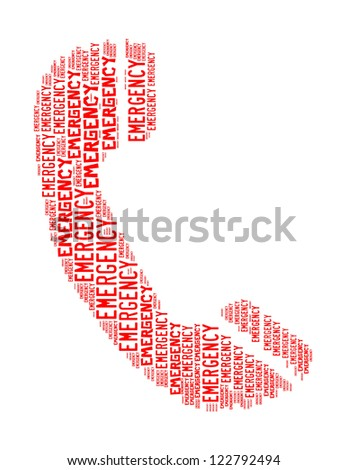emergency text collage Composed in the shape of telephone an isolated on white