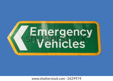 Emergency vehicles sign pointing left
