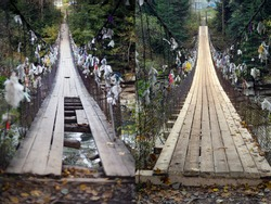Emergency wooden suspension bridge on cables in the Alps. Old rotten planks and logs are very dangerous when crossing a rough, cold river.  On the right is a bridge after reconstruction and repair.
