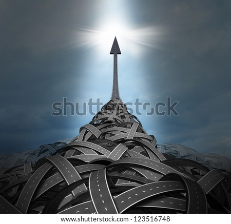 Emerging leadership with a big mountain of confused tangled roads and highways and a clear path going up to the sky as a solution for success in a concept of individuality breaking out of problems.