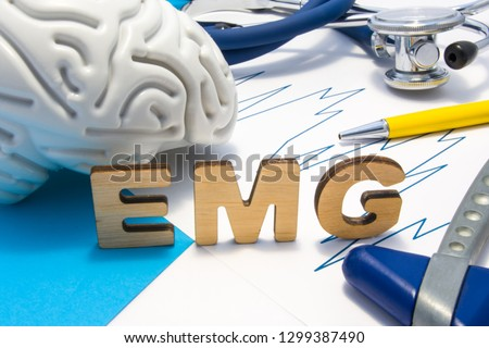 EMG medical abbreviation of electromyography concept, medical diagnostic research, which measures electrical impulses of muscles. Diagnosis nerve diseases associated with poor transmission of nerve #1299387490
