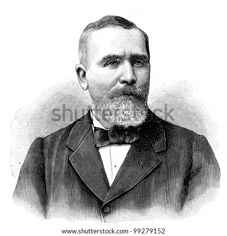 """Emile Loube, President of the French Republic. Engraving by  Shyubler. Published in magazine """"Niva"""", publishing house A.F. Marx, St. Petersburg, Russia, 1899"""