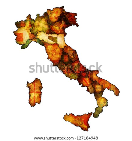 emilia romagna region on administration map of italy with flags