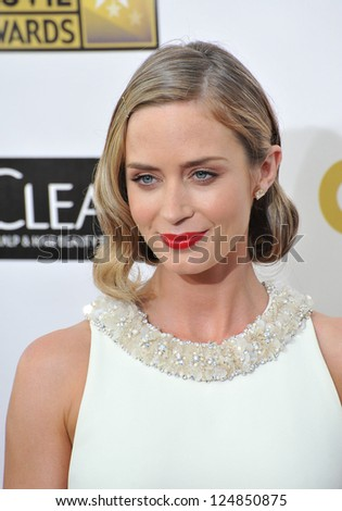 Emily Blunt at the 18th Annual Critics' Choice Movie Awards at Barker Hanger, Santa Monica Airport. January 10, 2013  Santa Monica, CA Picture: Paul Smith