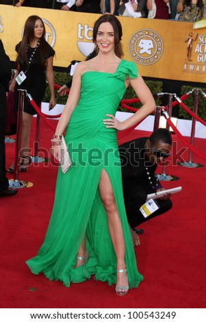 Emily Blunt at the 18th Annual Screen Actors Guild Awards Arrivals, Shrine Auditorium, Los Angeles, CA 01-29-12
