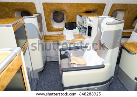 Emirates A380, Business class, Guarulhos, Brazil, 2017 #648288925