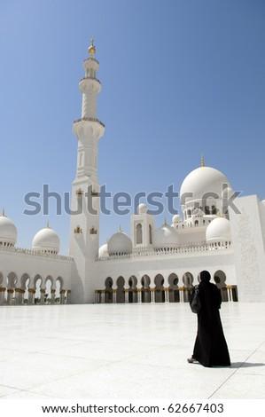 Emirates Abu Dhabi Dubai Arabian women at Sheikh Zayed Mosque