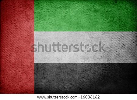 emirates flag on vintage paper