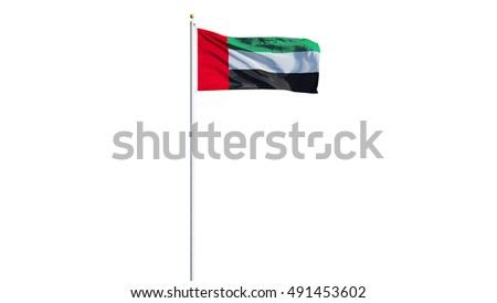 Emirates flag waving on white background, long shot, isolated with clipping path mask alpha channel transparency