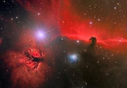 emission nebula and dark nebula in the constellation Orion
