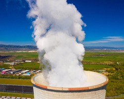 Emissions from cooling tower of coal power plant.