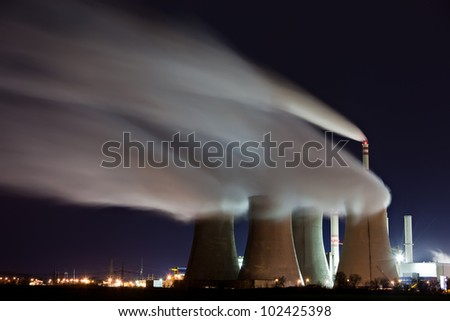 Emissions of power plant at night