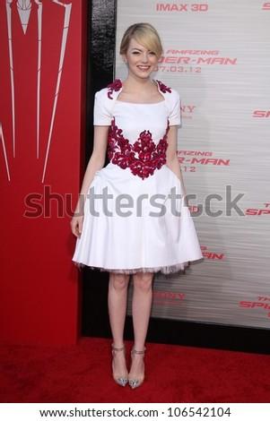 "Emma Stone at ""The Amazing Spiderman"" World Premiere, Village Theater, Westwood, CA 06-28-12 - stock photo"
