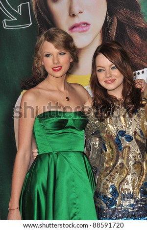 "Emma Stone & Taylor Swift (in green) at the premiere of Stone's new movie ""Easy A"" at Grauman's Chinese Theatre, Hollywood. September 13, 2010  Los Angeles, CA Picture: Paul Smith / Featureflash"