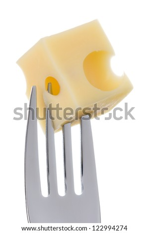 emmental cheese cube on a fork against white background