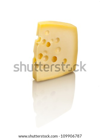 Emmental cheese with holes, isolated on white background.