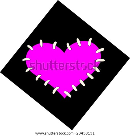 Emo heart with thread - stock photo