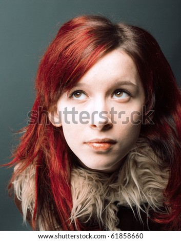 Red Hair Emo Girls. stock photo : Emo look girl