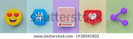 emoji, hashtag sign, social media post, like heart, share icon. horizontal banner. 3d rendering