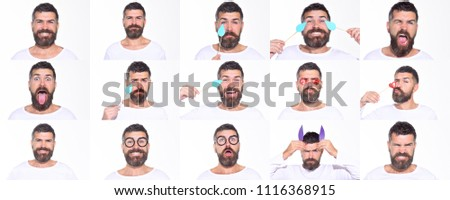 Emoji set of bearded man. Collage of emotions. Different emotions. Feeling and emotions. Face expression. Set of human emotions. Funny faces. #1116368915