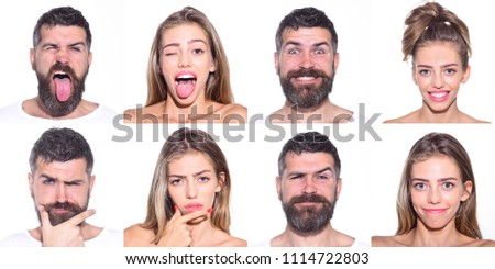 Emoji set of woman and bearded man. Collage of emotions. Different emotions. Feeling and emotions. Face expression. Set of human emotions. Funny faces. #1114722803