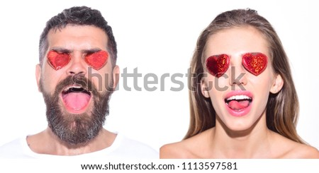 Emoji set of woman and bearded man with hearts on eyes. Collage of emotions. Different emotions. Feeling and emotions. Girl with hearts on eyes. Man with hearts on eyes. Face expression. Emoji set. #1113597581